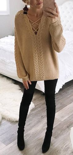 black and nude trends sweater   skinnies   boots