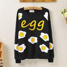 "Egg sweatshirt  Coupon code ""cutekawaii"" for 10% off"