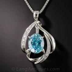 Platinum Blue Zircon and Diamond Pendant Necklace Diamond Necklace Simple, Diamond Pendant, Diamond Jewelry, Diamond Necklaces, Pendant Jewelry, Pendant Necklace, Jewelry Necklaces, Pendant Design, Blue Zircon