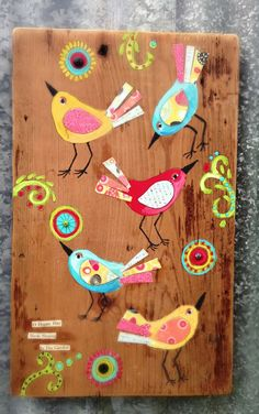 Funky Birds Modern Folk. $62.00, via Etsy. easy folk art whimsical bird and flower design painted on repurposed wood panel , great cute wall art picture