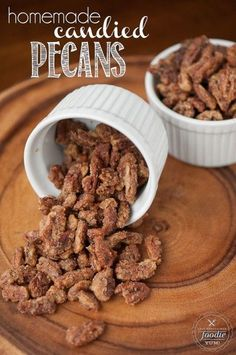 Homemade Candied Pecans are easy to make and are perfect as a holiday appetizer, snack on the go, or on top of salads, oatmeal, or yogurt. Pecan Recipes, Snack Recipes, Dessert Recipes, Cooking Recipes, Candied Pecans Recipe, Candied Nuts, Sugared Pecans, Almonds, Cinnamon Sugar Pecans