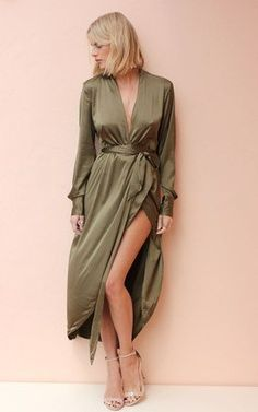 Our Satin wrap maxi dress, with button cuffs and waterfall front