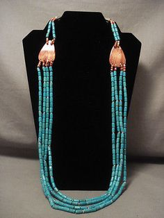 MIND-BLOWING-VINTAGE-SANTO-DOMINGO-TUBE-TURQUOISE-NECKLACE-OLD-VTG