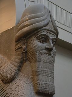 Assyrian Protective winged human headed lion spirit Nimrud 860 BCE 2 by mharrsch, via Flickr