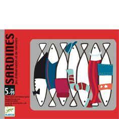 Sardines - Boîtier pratique s'ouvrant comme un tiroir, 40 cartes « Sardines »…