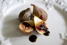 Try reducing balsamic vinegar to a syrupy consistency, and then drizzling it over cut figs.