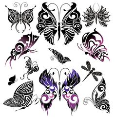 XOO Plate :: Beautifully Hand Drawn Vector Butterflies - Exquisite butterflies and dragonflies in hand drawn vector.