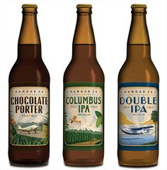 Hangar 24 Craft Brewery Bottles. Strong design