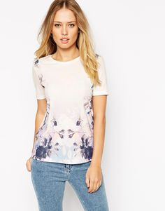 ASOS T-Shirt in Crepe with Placement Flower Print