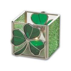 """Amazon.com: Irish Shamrock Candle Holder, Stained Glass, 3"""" x 3"""": Home & Garden, found on #polyvore."""