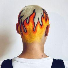 Hoping your week is as 🔥🔥 as // Hair art by . Shaved Head Designs, Flame Hair, Dyed Hair Men, Mens Hair, Hair Colour Design, Buzzed Hair, Men Hair Color, Bald Hair, Hair And Makeup Artist