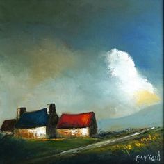 Blue Roof, Irish Art, Art Oil, Online Art, Cosy, Oil On Canvas, Contemporary Art, Art Gallery, Old Things