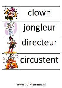 www.juf-lisanne.nl Stempelkaart 2 bij het thema Circus.