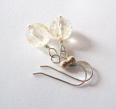 Citrine Gemstone Earrings Light Champagne by SendingLoveGallery
