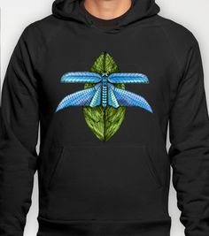 Dragonfly to Your Dreams Hoody by Vikki Salmela - $38.00 #watercolor #dragonfly #art on #fashion #apparel,#clothing, #casual #hoodies #T-shirts and more.