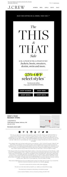 J.Crew - The This & That Sale is here (25% off jackets, boots, sweaters, denim, swim and more)