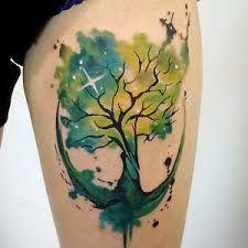 Resultado de imagem para watercolor tree tattoo
