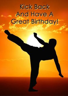 Happy Birthday Karate Block Postcard Martial Arts
