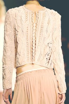 Love this cream cable knit jumper embellished with pearls........ Inspiration