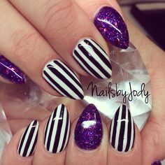 Beetlejuice nails.These would look good with purple or black hair. More