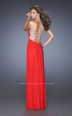 Beautiful red strapless La Femme gown with a dramatic back. LOVE it!