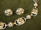 Georg Jensen Dogwood Necklace  Earrings by Alphonse LaPaglia handwrought 1940s