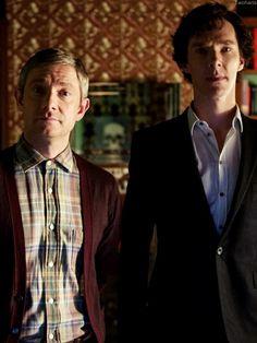 Martin Freeman ((John Watson)) and Benedict Cumberbatch ((Sherlock Holmes))