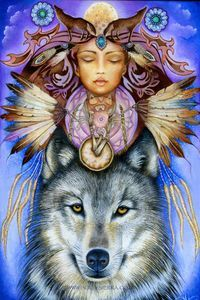 """Spirit Totem Animals: """"Wolf Spirit, A Native American Shapeshifter,"""" by HollySierraArt. Wolf was the first deep connection with animals I remember having. American Indian Art, Native American Indians, Tier Wolf, Ciel Nocturne, Animal Spirit Guides, Southwestern Art, Power Animal, Wolf Spirit, Native Art"""