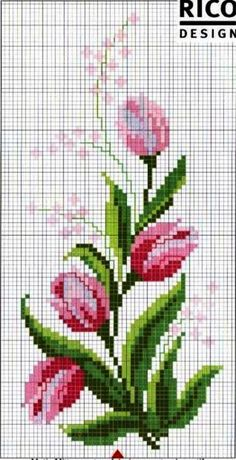 Etamin Örnekleri 1 Cross Stitching, Cross Stitch Cards, Cross Stitch Flowers, Cross Stitch Patterns, Knitting Patterns, Mosaic Flowers, Hardanger Embroidery, Hand Embroidery, Embroidery Designs