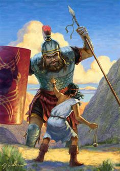 David and Goliath Religious Pictures, Bible Pictures, Religious Art, Jesus Pictures, Bible Art, Bible Scriptures, David Und Goliath, David Bible, Psalm 133