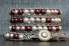pearl and leather wrap bracelet purple lavender & by CorvusDesign