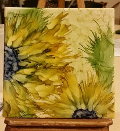 Flowers in alcohol ink on 6x6 tile by Tina