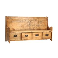 Reclaimed Elm Rustic Bench With Drawers.  The perfect entry way bench.  Four drawers with lots of storage.  Finished in a raw elm.  Unique!  Here at design MIX furniture we offer studio rentals of all of our one of a kind pieces. If you have any questions about this piece or any of our art and furnishings please contact us.
