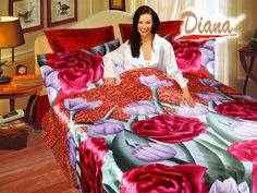 Jasmine, Queen Bed Silk Satin Bedding Floral Duvet Cover Set by Diana   Decorate to amaze with artistic floral prints featuring peonies and tulips on a smooth and silky red bedding ensemble.