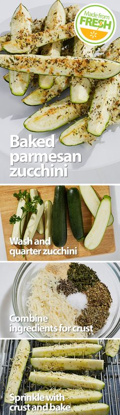 Fresh zucchini topped with a parmesan herb crust and baked until it's crisp yet tender. This is one of those foods that's so good you have to stop and close your eyes after a bite. Seriously delicious! Find these fresh ingredients at your local Walmart.