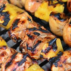 Pineapple Grilled Chicken Kebabs Recipes Delicious sweet and salty combination of marinated chicken and fresh pineapple chunks cooked on a grill. Kebab Recipes, Grilling Recipes, Paleo Recipes, Cooking Recipes, Grilled Chicken Thighs, Marinated Chicken, Chicken Fritters Recipe, Chicken Recipes, Pineapple Chicken Kabobs