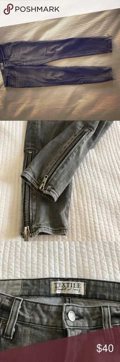 Elizabeth & James Gray jeans, metal ankle zippers Elizabeth and James gray jeans with metal ankle zippers in gray. In good condition, an updated classic Elizabeth and James Jeans Ankle & Cropped