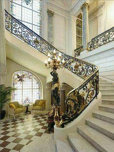 Staircase of Shangri-La Hotel in Paris