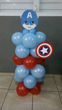 Balloon Captain America. Noah's 1st birthday Avengers Birthday, Superhero Birthday Party, 4th Birthday Parties, Birthday Party Decorations, Boy Birthday, Batman Party, Captain America Party, Captain America Birthday, America Themed Party