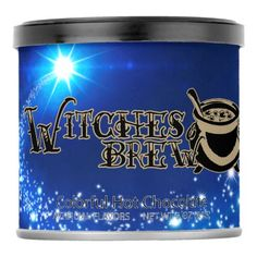 Witches Brew: Blue Hot Chocolate 3 oz Powdered Drink Mix - halloween decor diy cyo personalize unique party