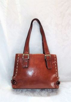 DAVID JONES BROWN HANDBAG, Classic Brown Leather Solid Shoulder Bag Expandable #DavidJonesCollection #ShoulderBagHandbag