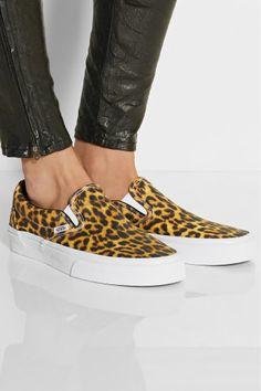 Vans | Leopard-print canvas slip-on sneakers | NET-A-PORTER #vans #leopard