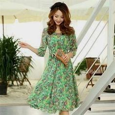 Nice Floral Chiffon Dress With Sleeves 2018