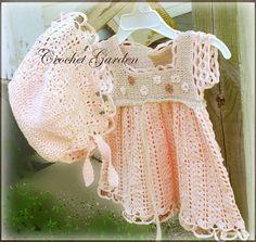 Garden Lullaby Crochet Dress Pattern Newborn Reborn 3  mos 6 mos 9 mos 12 mos on Etsy, $6.99