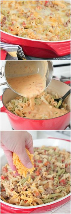 Queso Taco Pasta Bake, think I could try it with ground chicken or ground turkey.