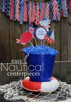 Easy Nautical Centerpieces // Nautical Birthday Party Ideas & Creative Nautical Baby Shower Coral u0026 Aqua | Pinterest | Coral aqua ...