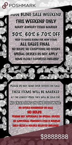 BLING SALE WEEKEND ALL SALES FINAL BLING SALES WEEKEND! FINAL PRICES NO ADDITIONAL DISCOUNTS EVEN IF BUNDLED. PLEASE READ THE RULES ABOVE NO EXCEPTIONS. ALL ITEMS WILL BE REMOVED AFTER THIS WEEKEND IF NOT SOLD. NO HOLDS OR EXCEPTIONS PRICE FINAL Jewelry Rings