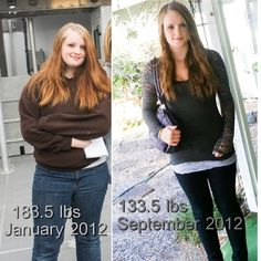 183.5 to 133.5 50 pounds in 8 months -- How she lost 12 dress sizes in 5 months.