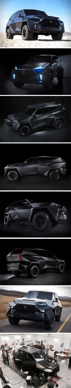 "Designed with an aesthetic that's instantly memorable, the Karlmann King SUV is a ""Ground Stealth Fighter"" with a design that one could characteristically and literally describe as edgy. It ditches the organic, aerodynamic design that most cars go for, and opts for something polygonal and frankly, beastly. Created by a worldwide team of nearly 2000 designers, developers, and engineers, the Karlmann King SUV is based on the Ford F-550 chassis."