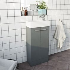 Clarity Compact Satin Grey Vanity Unit And Basin Grey Vanity Unit, Bathroom Vanity Units, Rustic Bathroom Vanities, Small Bathroom Storage, Bathroom Furniture, Bathroom Ideas, Barn Wood Bathroom, Basin Unit, Yellow Bathrooms